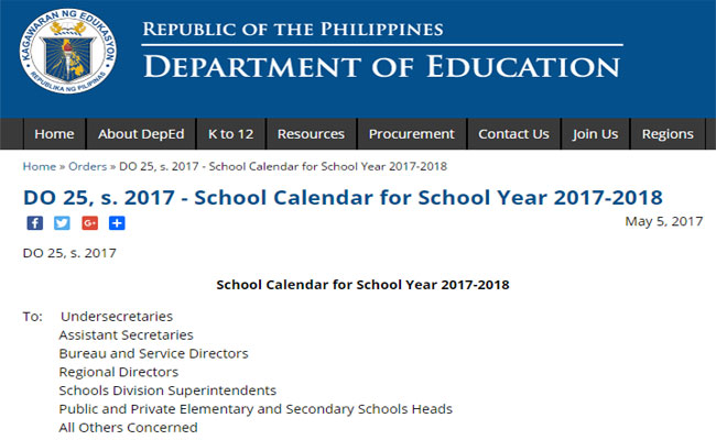 school calendar for school year 2017 2018 released deped tambayan