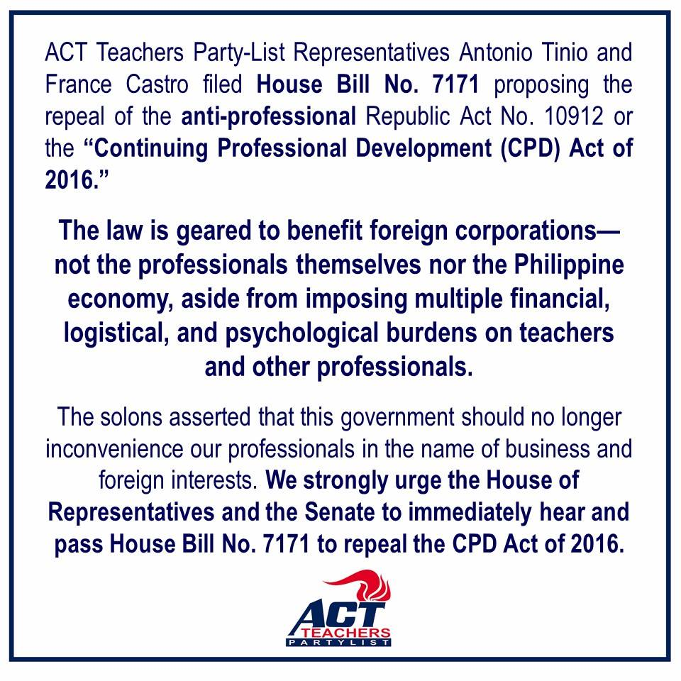 FILED: House Bill No. 7171 to repeal the Continuing Professional Development (CPD) Act of 2016